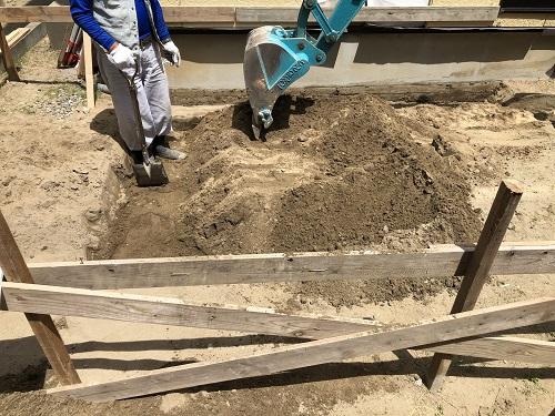 新潟市 東区 リノベーション リフォーム 増築 基礎工事 掘削