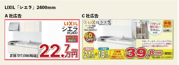 キッチン広告 価格例 施工費込